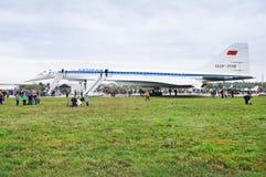 Tonen de passagiers supersonische vliegtuigen ` Turkije-144 ` bij de lucht ` maks-2013 ` Stock Fotografie