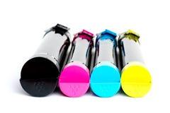 Toner ładownica ustawiająca dla kolor drukarki laserowej Wyposażenie dla printingon bielu tła zdjęcia stock