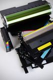 Toner cartridge set for laser printer. Computer supplies. Stock Photo