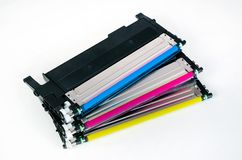 Toner cartridge set for laser printer. Computer supplies. Stock Images