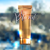 Toner contained in plastic tube with gold lid and place for your Stock Photography