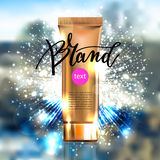 Toner contained in plastic tube with gold lid and place for your Royalty Free Stock Images