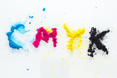 Toner de couleur de CMYK pour le jaune magenta cyan d'imprimante Photos stock