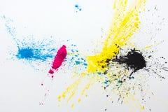 Toner de couleur de CMYK pour le jaune magenta cyan d'imprimante Photographie stock libre de droits