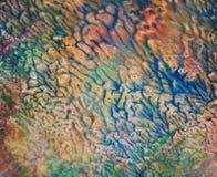 Toner för målarfärg för suddig blåttguling orange Abstrakt målarfärgvattenfärgbakgrund fotografering för bildbyråer