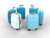 Tones of blue suitcases Royalty Free Stock Images