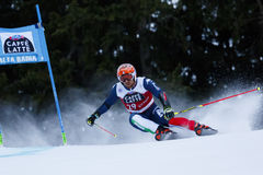 TONETTI Riccardo in Audi Fis Alpine Skiing World-Kop Royalty-vrije Stock Afbeeldingen