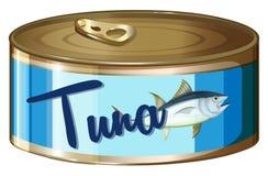 Tonfisk i aluminiumburk vektor illustrationer
