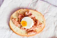Tonfisk- och äggsmörgås royaltyfri foto