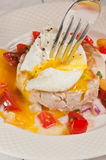 Tonfisk och ett pouched ägg med salsa för den körsbärsröda tomaten, paleo bantar royaltyfri foto