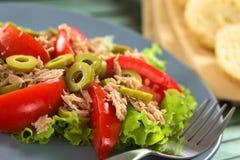 Tonfisk-, olivgrön- och tomatsallad Arkivbild