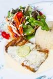 Tonfiskbiff och stekte ris med smör Royaltyfria Foton