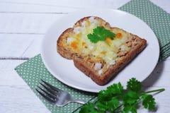 Tonfiskbröd och ost royaltyfri fotografi