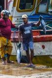 Tonfiskfisk som kommer med till land från fartyg i den Mirissa hamnen, Sri Lanka Royaltyfri Foto