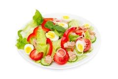 Tonfisksallad med grönsallat, ägg och tomater på vit Arkivfoton
