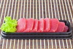 Tonfisksashimi, rå fisk - japansk matstil Arkivbild