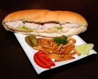 Tonfisksmörgås med pommes frites och grönsaker royaltyfria foton