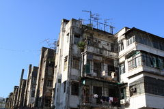 Tong Lau. Is essentially a balcony-type tenement building for residential and commercial use Royalty Free Stock Photos