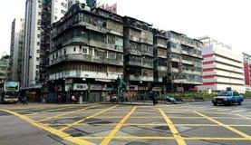 Tong Lau gamla bostads- byggnader i Kowloon arkivbild