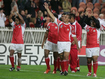 Tonga. Players receiving the honnor of the fans at the end of the qualification round of the Rugby World Cup 2007 between  and England at the Parc des Prince on Stock Photography