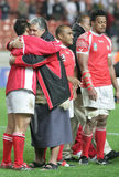Tonga. Players receiving the honnor of the fans at the end of the qualification round of the Rugby World Cup 2007 between  and England at the Parc des Prince on Stock Image