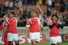 Tonga. Players receiving the honnor of the fans at the end of the qualification round of the Rugby World Cup 2007 between  and England at the Parc des Prince on Royalty Free Stock Image