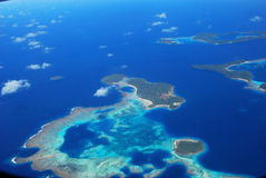 Tonga from the air. Air vision from polynesian islands of Tonga Royalty Free Stock Images