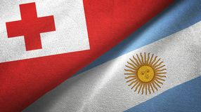 Tonga and Argentina two flags textile cloth, fabric texture. Tonga and Argentina flags together textile cloth, fabric texture royalty free illustration