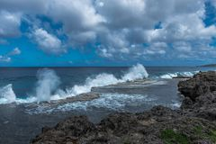 Tonga Blowholes Shoot Skywards stock photo