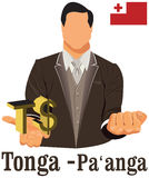 Tonga currency symbol Paanga  representing money and Flag. Stock Image