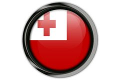 Tonga flag in the button pin Isolated on White Background Stock Photo
