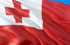 Tonga flag. 3D Waving flag design. The national symbol of Tonga, 3D rendering. The national symbol of Tonga background wallpaper. 3D ribbon, wallpaper, pattern royalty free stock photo