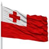 Tonga Flag on Flagpole Stock Photos