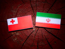 Tonga flag with Iranian flag on a tree stump isolated Stock Images