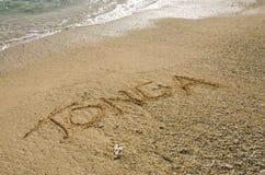Tonga in het zand Royalty-vrije Stock Afbeeldingen