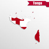 Tonga map with flag inside and ribbon Stock Photos