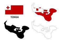 Tonga map vector, Tonga flag vector, isolated Tonga Stock Photography