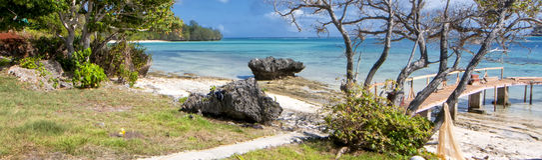 Tonga Polynesia Paradise Crystal Water Poster Panorama Stock Photography