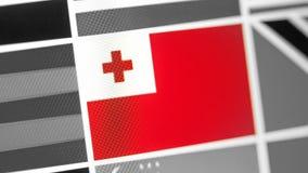 Tonga-Staatsflagge des Landes Tonga-Flagge auf der Anzeige, ein digitaler Wässerungseffekt stockfotografie