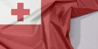 Tonga tkaniny flaga zagniecenie z biel przestrzenią i krepa fotografia royalty free