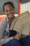 Tongan girl with a fan Stock Photos