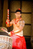 A Tongan man beating a drum. Honolulu, Hawaii - May 27, 2016: A Tongan man performs for audiences at the Polynesian Cultural Center, a popular tourist attraction Royalty Free Stock Photo
