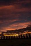 Tongariki ceremonialna platforma, Wielkanocna wyspa, Chile Zdjęcia Stock