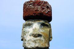 Tongariki Moai. In Easter Island Royalty Free Stock Photo