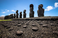 Tongariki Moais. Moais in Ahu Tongariki on Easter island royalty free stock images