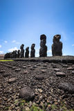 Tongariki Moais. Moais in Ahu Tongariki on Easter island Stock Image