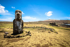 Tongariki Moais. Moais in Ahu Tongariki on Easter island royalty free stock photography