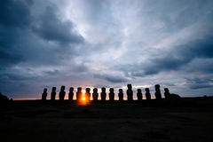 Tongariki Moais. Moais in Ahu Tongariki on Easter island at sunrise Royalty Free Stock Photos
