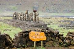 Tongariki Moais. In Easter Island Stock Photo