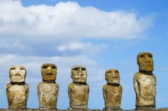 Tongariki Moais. In Easter Island Royalty Free Stock Image